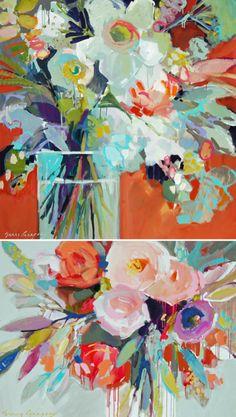 Para florir a última semana de outono escolhi as belíssimas pinturas de Erin Fitzhugh Gregory, uma artista americana que gosta de capturar o contraste da luz do sol e das sombras com cores vivas. O trabalho dela é bem rico em cores e tem tudo a ver com esse clima florido de primavera, não acha? …