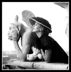 Suzy Parker and gargoyle, photo by Avedon, Paris, 1951