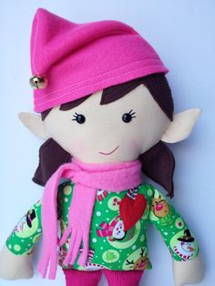 Plush Elf Cloth Doll  Noelle by LittleLuckies2 on Etsy, $45.00