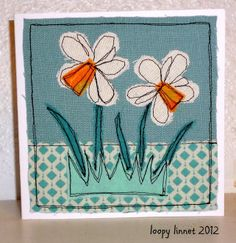 Textile Art 402931497887033080 - Daffodil Textile Art Card Source by thytti Freehand Machine Embroidery, Free Motion Embroidery, Machine Embroidery Projects, Free Machine Embroidery, Free Motion Quilting, Fabric Cards, Fabric Postcards, Paper Cards, Tela
