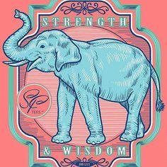 SassyFrass Christian T-Shirt | Vintage Elephant | Strength and Wisdom | Free U.S. Shipping