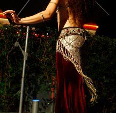 Shiny Cream Tribal Fusion Hip Scarf - Beige cream tribal belly dance hip shawl