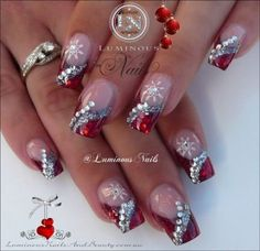 Luminous nails red silver acrylic christmas winter gel nail designs with glitter - small Red And Silver Nails, Silver Nail Art, Red Nails, Silver Glitter, Nail Pink, Orange Nail, Red Christmas Nails, Xmas Nails, Holiday Nails