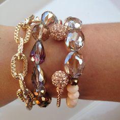 Bronze & Peach Bracelet Set by pjandpoppy on Etsy, $36.00