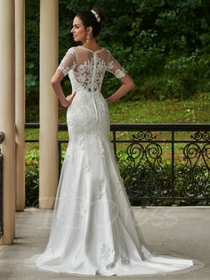 Tbdress.com offers high quality Scoop Neck Appliques Beading Wedding Dress With Short Sleeves Latest Wedding Dresses unit price of $ 249.84.