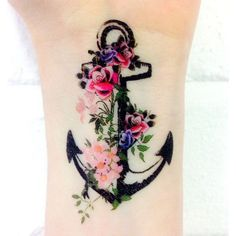 #anchor #anchortattoo #anchortattoos #wristtattoo #wristtattoos #floral #pretty #prettytattoo #prettytattoos #cute #cutetattoo #cutetattoos #cutegirlytattoos #tatted #tattoed #ink #inked
