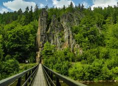 The Ohře (Eger) River has dug through the granite massif of the Slavkov Forest between Loket and Karlovy Vary, creating a deep canyon. The rock. Wonderful Places, Beautiful Places, Prague Czech Republic, Heart Of Europe, Countryside, Over The Bridge, Travel Destinations, Places To Visit, Landscape
