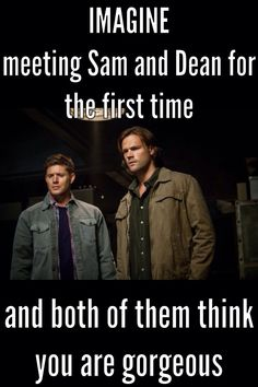 "((RP be Sam or Dean)) I just met the Winchesters. And whenever we're on a hint I can tell they're looking at me, I start to get annoyed so I turn around.""Are you gonna take a picture? It'll last longer"" they get flustered."