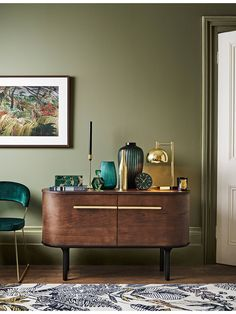 New Living Room Modern Wood Credenzas Ideas Living Room Green, Living Room Paint, Living Room Modern, Living Room Interior, Living Room Furniture, Living Room Decor, Dark Wood Living Room, Furniture Stores, Cheap Furniture