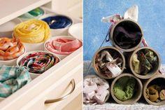Cartons de lait coupés, rouleaux vides de ruban adhésif ou rouleaux de plastiques pour le rangement des foulards, bas, et sous-vêtements.