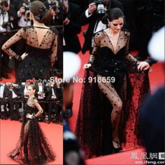 Celebrity Dress 2014 67th tapis rouge cannes V Neck Long Sleeves See Through Sexy Women Evening Dress $197.00