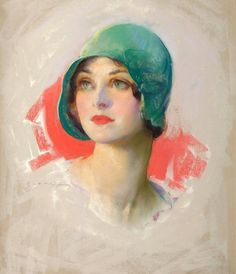 This is 'The Smart Set.' 1925 by Guy Hoff. (American artist. 1898-1962) Sometimes referred to as 'The Girl in the Green Hat'. It is not a Rolf Armstrong. The original is oil on canvas. Pictify and Glamourdaze sources of this picture on Pinterest are incorrect.