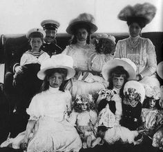 Romanov family. Little girls with their dolls...