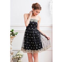 Women's Strapless Mesh Embroidery Polka Dots Sleeveless Mini Dress