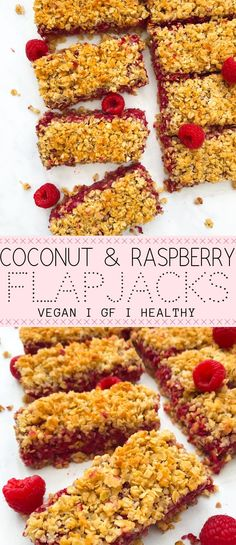 nutritious coconut and raspberry flapjacks are utterly divine! 7 ingredien These nutritious coconut and raspberry flapjacks are utterly divine! -These nutritious coconut and raspberry flapjacks are utterly divine! Healthy Afternoon Snacks, Healthy Vegan Snacks, Healthy Dessert Recipes, Healthy Breakfast Recipes, Gourmet Recipes, Easy Recipes, Vegan Recipes Uk, Healthy Oat Bars, Raspberry Recipes Healthy