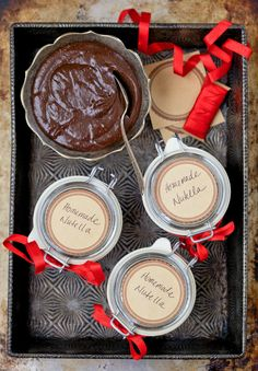 Homemade Chocolate Hazelnut Spread. Spread the love with this healthy and deliciously sweet gift. Makes a wonderful Christmas gift for neighbors, friends and family.