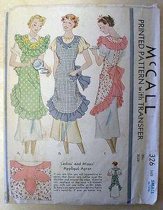 Sewing Retro Patterns McCall 326 Apron pattern from 1932 ~ - Apron Pattern Free, Vintage Apron Pattern, Retro Apron, Aprons Vintage, Retro Pattern, Vintage Sewing Patterns, Apron Patterns, Retro Mode, Cute Aprons