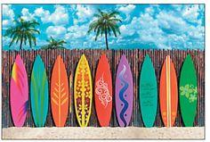 Giant 9 FOOT SURFBOARD Wall Mural Scene Setter Photo op Backdrop Luau Party