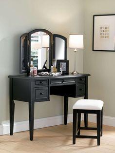 "Vanity, Mirror and Bench in ""Antique Black"" with Sand Through Terra Cotta - Powell Furniture - - Vanity Table Sets Makeup Vanity Furniture, Bedroom Makeup Vanity, Bedroom Vanity Set, Makeup Table Vanity, Bedroom Vanities, Vanity Desk, Wood Vanity, Makeup Vanities, Master Bedroom"