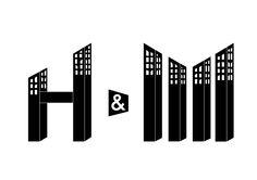 """""""H&M"""" Ejercicio creativo de lettering jugando con formas de edificios para la marca de ropa. » Sara Álvarez Máster en Diseño prom. 2013-14"""
