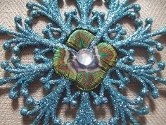 Blue Peacock Eyes Glitter Snowflake Christmas Holiday Ornament Bird Lot Avail | eBay