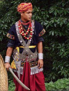 Khasi man's traditional attire, India
