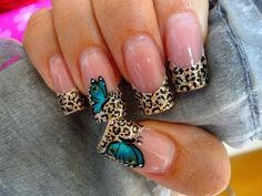 butterfly nail art designs for 2015 Beautiful Nail Designs, Beautiful Nail Art, Cool Nail Designs, Art Designs, Cheetah Nail Designs, Design Ideas, Cute Nail Art, Cute Nails, Pretty Nails