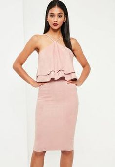 15d1e35af999 Pink Faux Suede Frill Midi Dress Stropløs Kjole