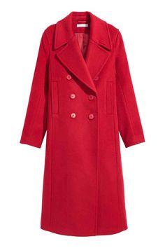 Frakke i uldblanding - Rød - DAME   H&M DK