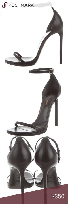 "0b76fc87850 Black Saint Laurent ""Jane"" Sandals Black leather ""Jane"" Saint Laurent  sandals with covered heels and buckle closure at ankles. Super classic  style that ..."