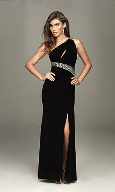 Sheath One-Shoulder Floor Chiffon Prom Dress
