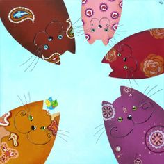 Painting 70 x 70 cm with a gang of cats looking down. Cats in brown, pink, red, yellow ocher and purple on a blue sky background. Painted with acrylics on canvas by the Dutch artist Sonja Kemp.