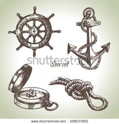 Illustration of Sea set of nautical design elements. Hand drawn illustrations vector art, clipart and stock vectors. Scrapbooking Rose, Ship Wheel Tattoo, Anchor Drawings, Nautical Design, Free Vector Art, Traditional Tattoo, Traditional Flash, Tattoo Inspiration, Sleeve Tattoos