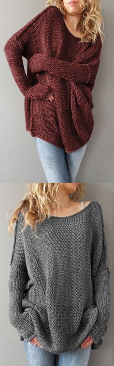 9f6386bfdd5 Women s Casual Daily Simple Long Solid Red Gray Round Neck Long Sleeve  Pullover Slouchy Sweater