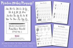 Brush Calligraphy Practice Sheets Style No. 1