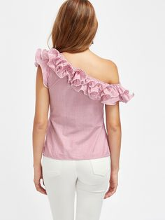 SHEIN offers Lettuce Edge Frill Asymmetric Shoulder Striped Top & more to fit your fashionable needs. One Shoulder Ruffle Top, One Shoulder Tops, Frill Tops, Chiffon Tops, White Short Sleeve Tops, White Tops, Flutter Sleeve Top, Ruffle Sleeve, Girls Blouse