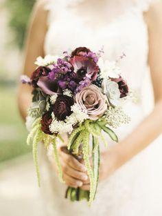 A plum bouquet: http://www.stylemepretty.com/little-black-book-blog/2014/12/17/classic-plum-baltimore-wedding/ | Photography: Krista A Jones - http://kristaajones.com/
