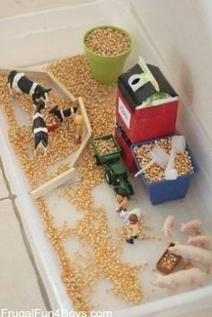 Farm Sensory Play Activity for Preschoolers – Frugal Fun For Boys and Girls – Toys – kids Farm Sensory Bin, Sensory Bins, Sensory Play, Baby Activity Table, Play Activity, Montessori Baby, Baby Toys, Baby Baby, 2d Shapes Activities