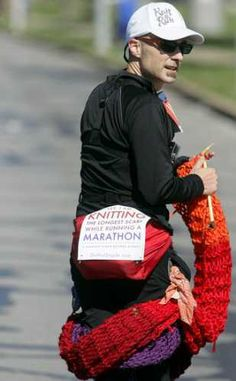 Here is a man knitting a scarf while running a marathon! Good for him!