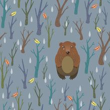 Seamless pattern. Very sad and unfortunate bear. Lonely in the woods, cold…