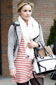 Dianna Agron. Preppy casual. NYC April 10, 2012.