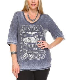 Take a look at this Charcoal Burnout 'Vintage Ride' V-Neck Tee - Plus today!