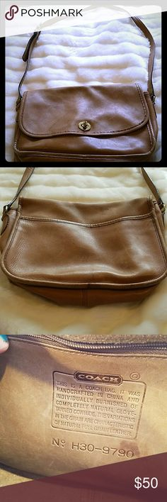 Vintage tan leather Coach crossbody saddle bag. Vintage tan leather Coach crossbody saddle bag. Well used. Beautiful patina. Some staining that can be seen on front and back photos. Worn on edges and hardware. Missing the Coach keytag. Coach Bags Crossbody Bags