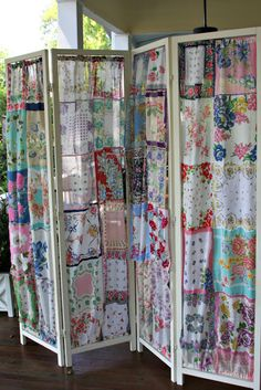 Repurpose: Vintage linens ... love this screen from vintage hankies.