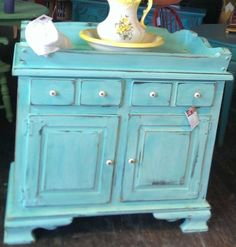 SALE Dry Sink or Changing Table Jamaica blue. Antique Furniture For Sale, Blue Furniture, Furniture Styles, Unique Furniture, Painted Furniture, Diy Furniture, Repainting Furniture, Distressed Furniture, Industrial Furniture