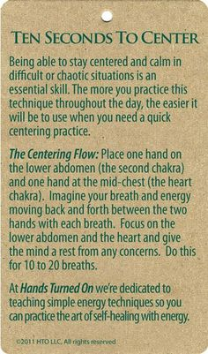 Centreing yourself with the mindful breath.