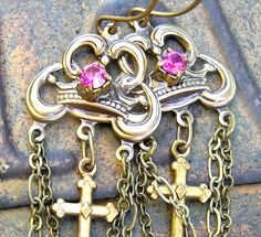 French Crown and Cross Earrings by lovelandshadetree on Etsy, via Etsy.