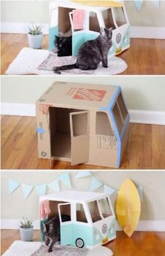 Cardboard Cat House, Cardboard Crafts, Cardboard Bus, Diy For Kids, Crafts For Kids, Cat House Diy, Diy Cat Toys, Pet Toys, Cat Playground