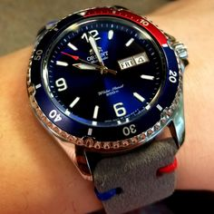 [Orient] Mako II pepsi with a slight modification. via /r/Watches Pocket Watches, Wrist Watches, Cool Watches, Orient Watch, Affordable Watches, Pepsi, Insta Pic, Cool Photos, Accessories