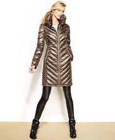 MICHAEL Michael Kors Chevron-Quilted Packable Puffer Coat